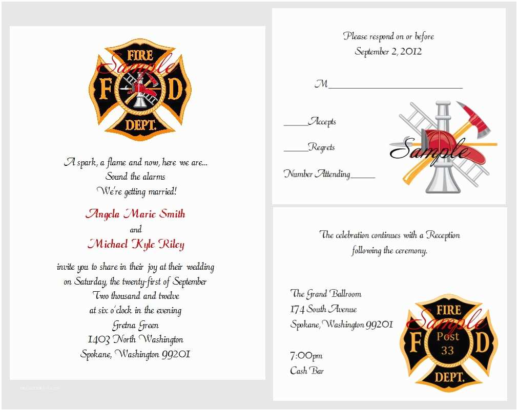 Firefighter themed Wedding Invitations 100 Personalized Custom Firefighter Bridal Wedding
