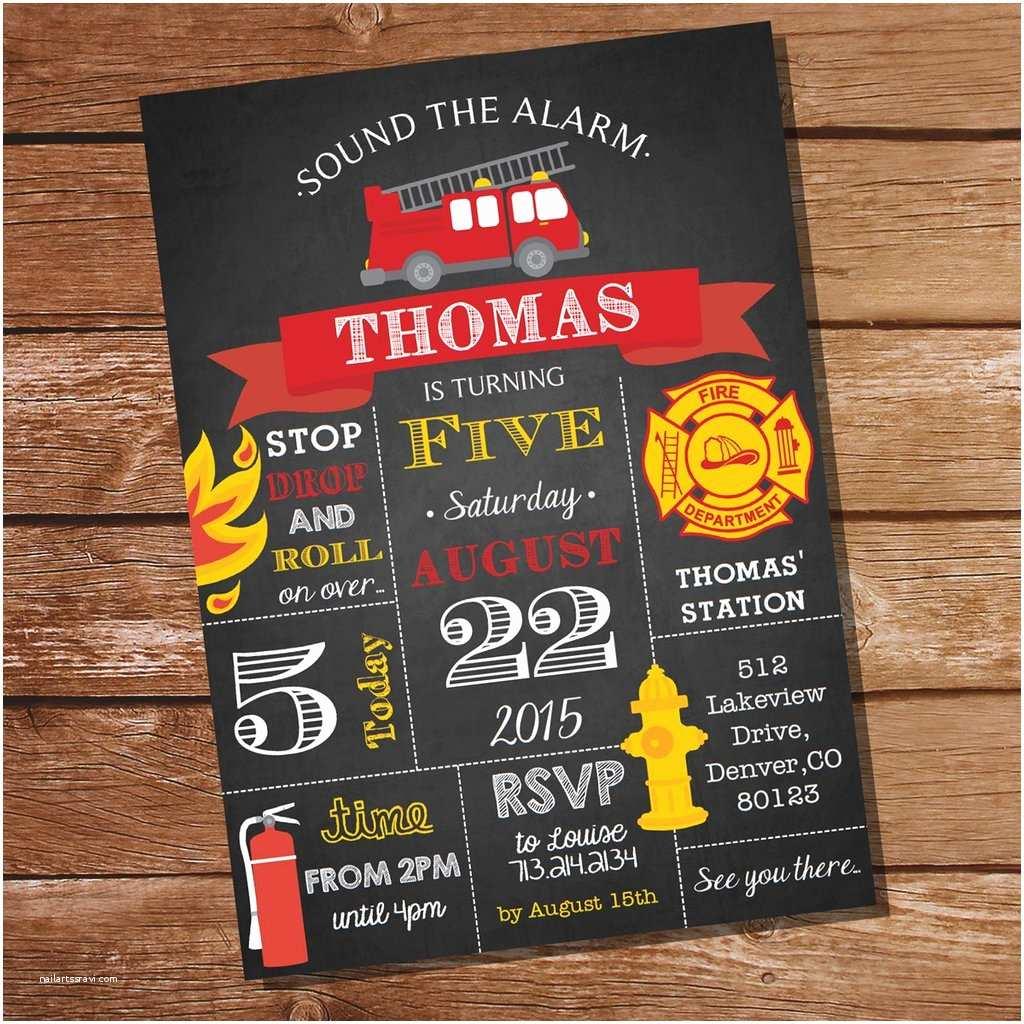 Firefighter themed Wedding Invitations Chalkboard Fireman Invitation