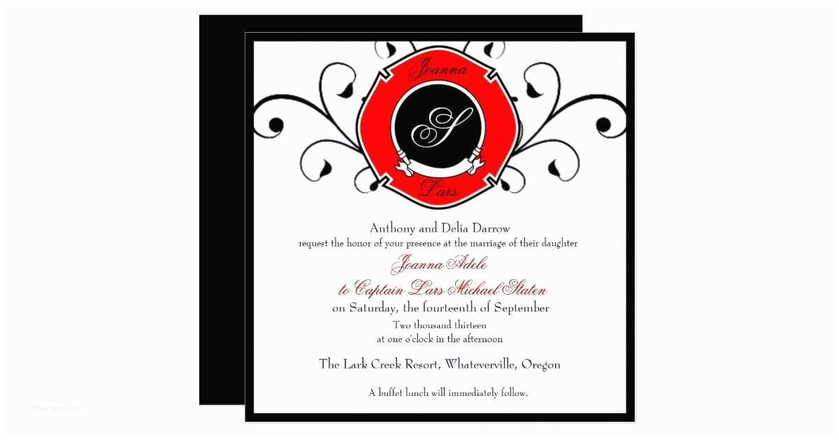Firefighter themed Wedding Invitations Firefighter Custom Wedding Invitations