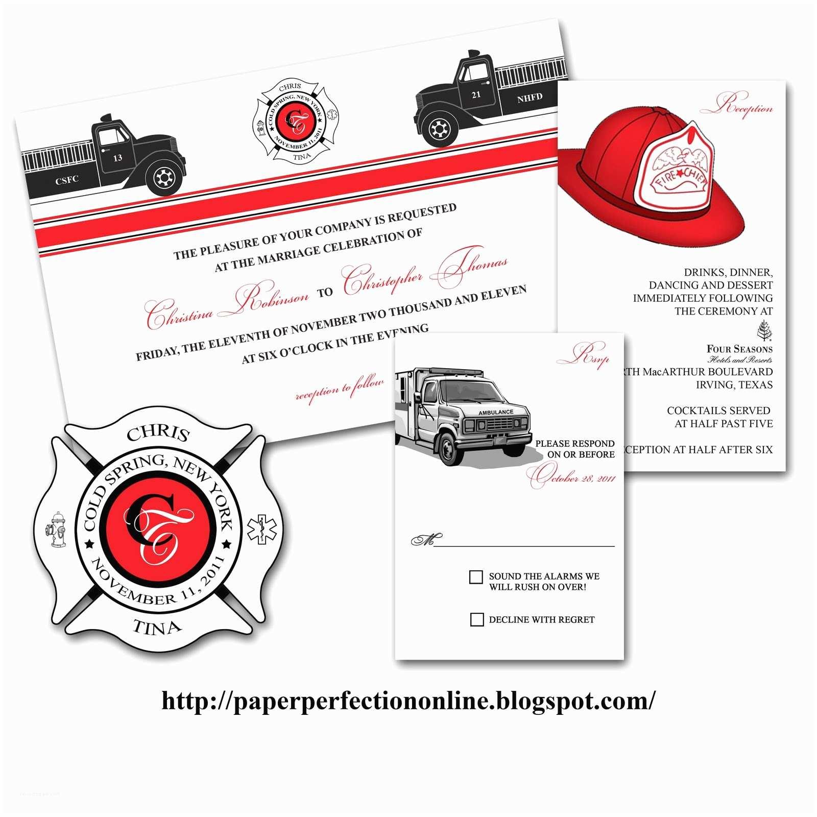 Firefighter themed Wedding Invitations Paper Perfection Tina S Fire Fighter Wedding Invitation
