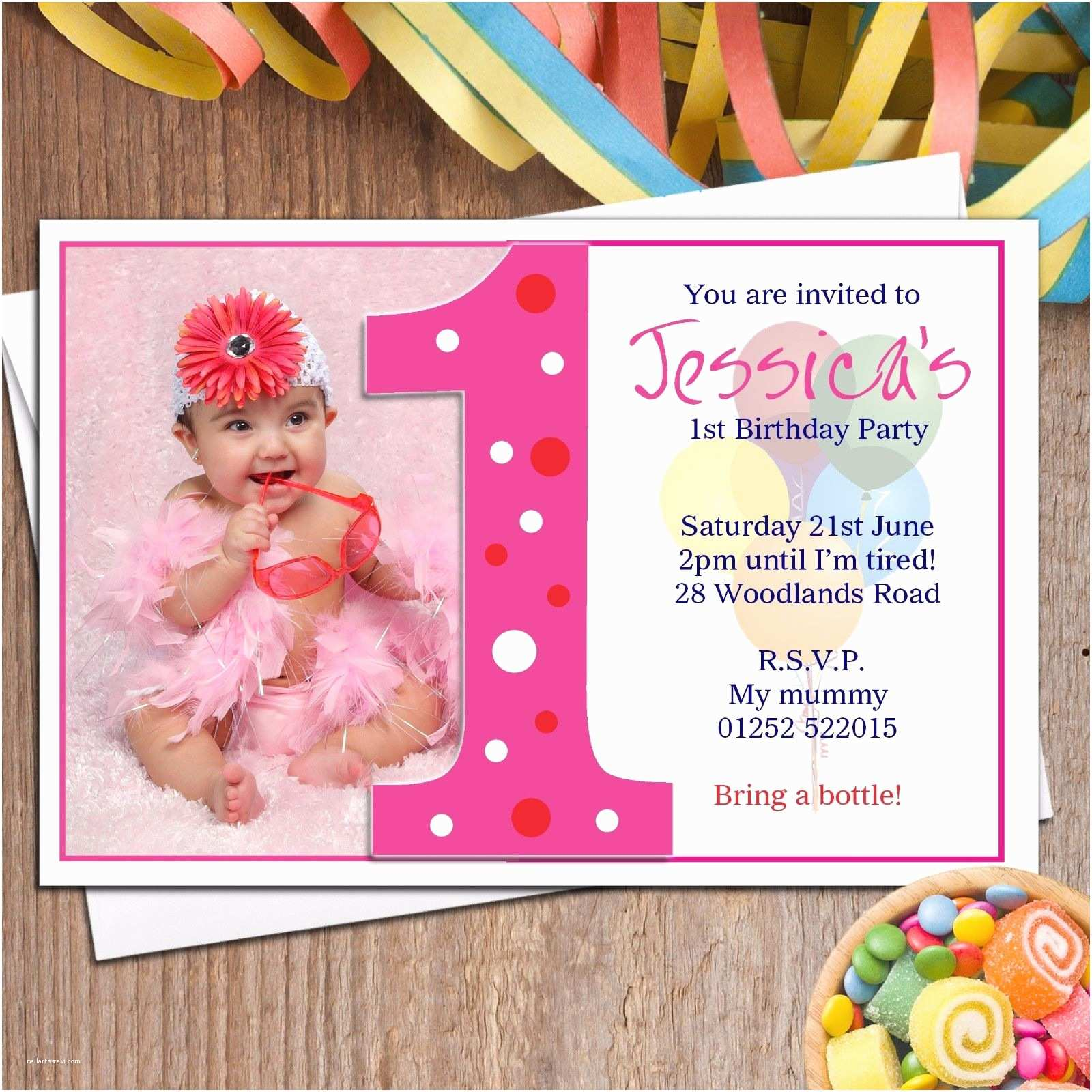 First Birthday Invitation Personalised Girls First 1st Birthday Party Photo