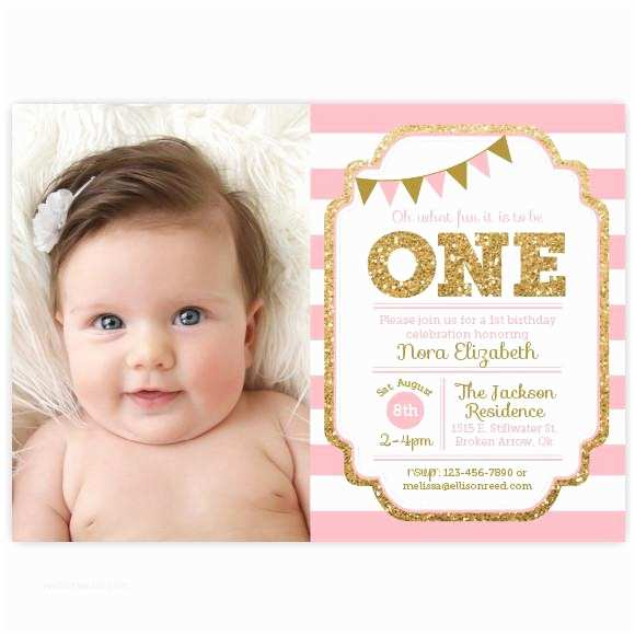 First Birthday Invitation Pink And Gold 1st Ellison Reed