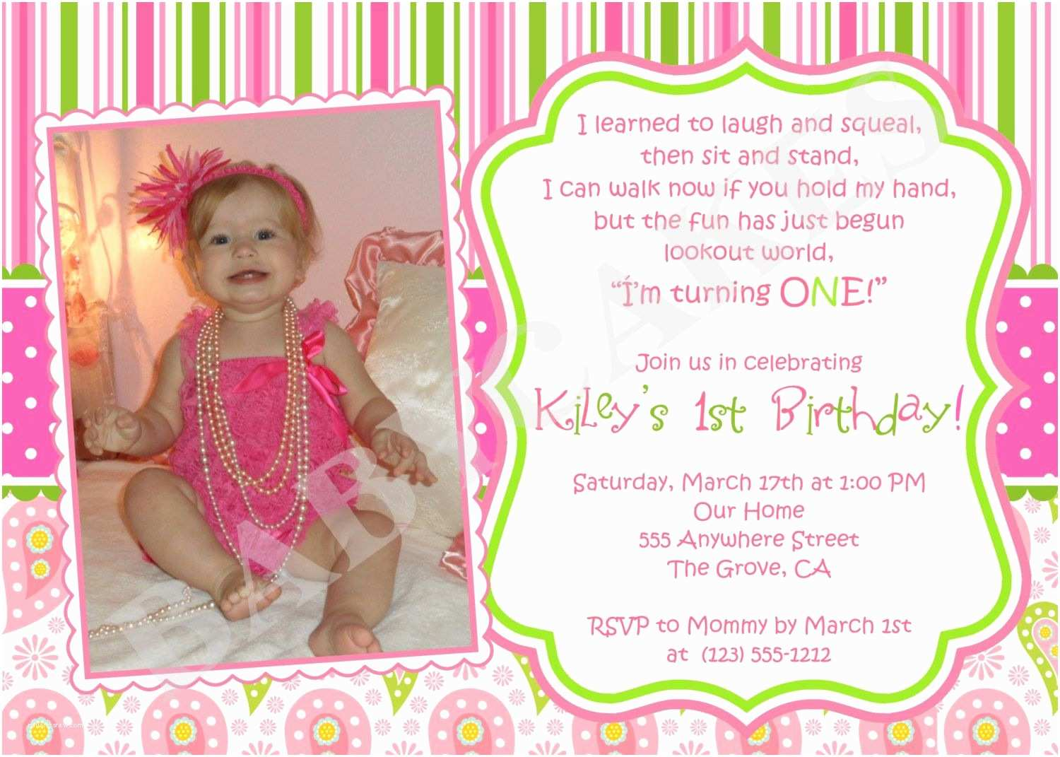 First Birthday Invitation Wording 1st Birthday Girl themes