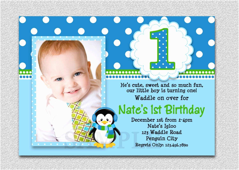 First Birthday Invitation Wording Penguin 1st Party Invites