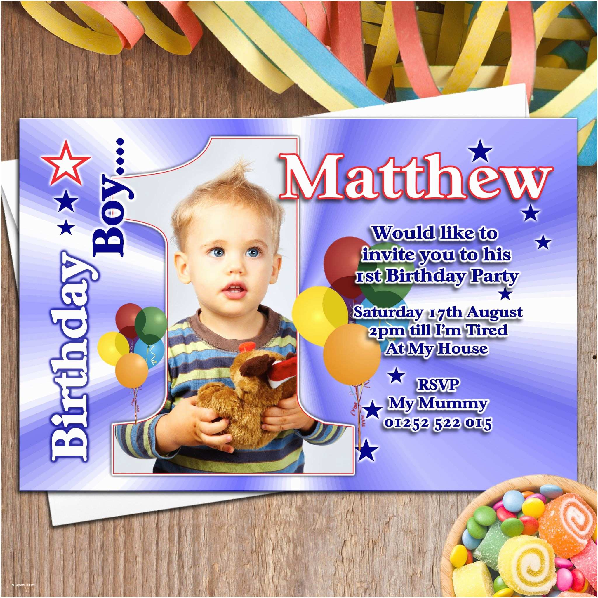 First Birthday Invitations Boy 10 Personalised Boys First 1st Birthday Party Photo