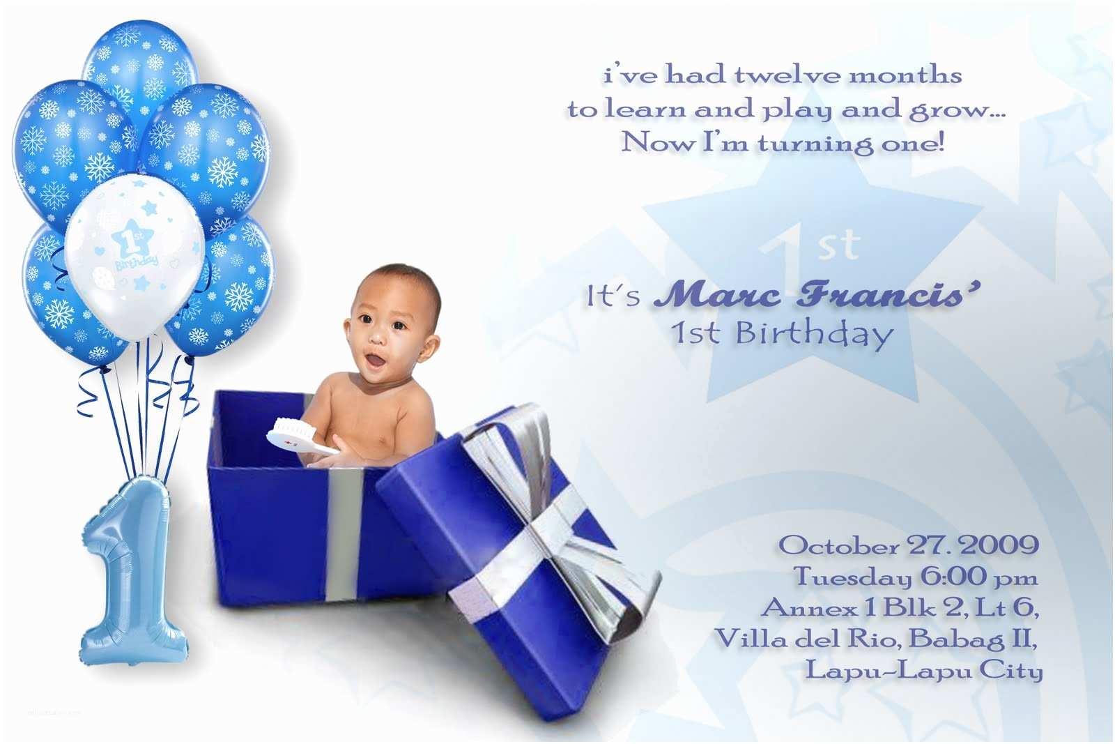 First Birthday Invitations Boy Baby Boy First Birthday Invitations