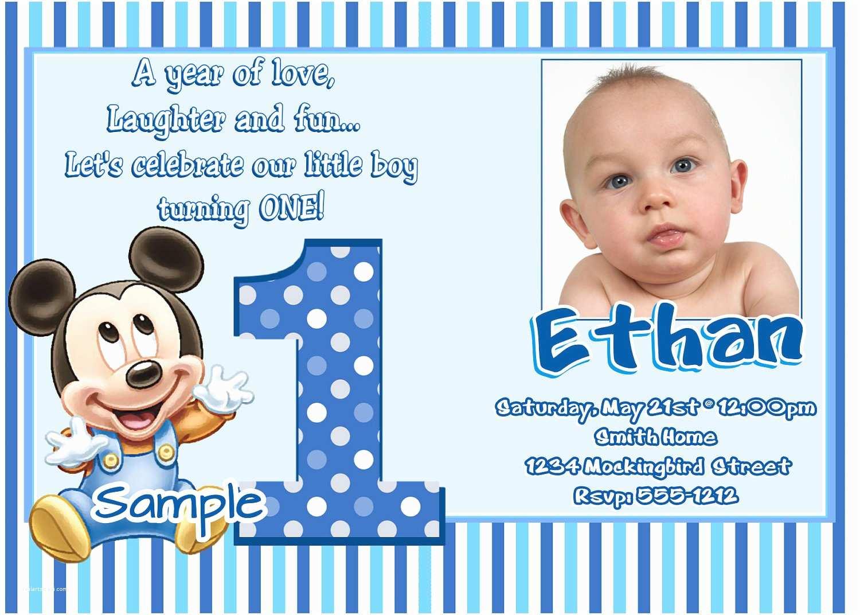 First Birthday Invitations Boy Bg68 Mickey Mouse 1st Birthday Invitations