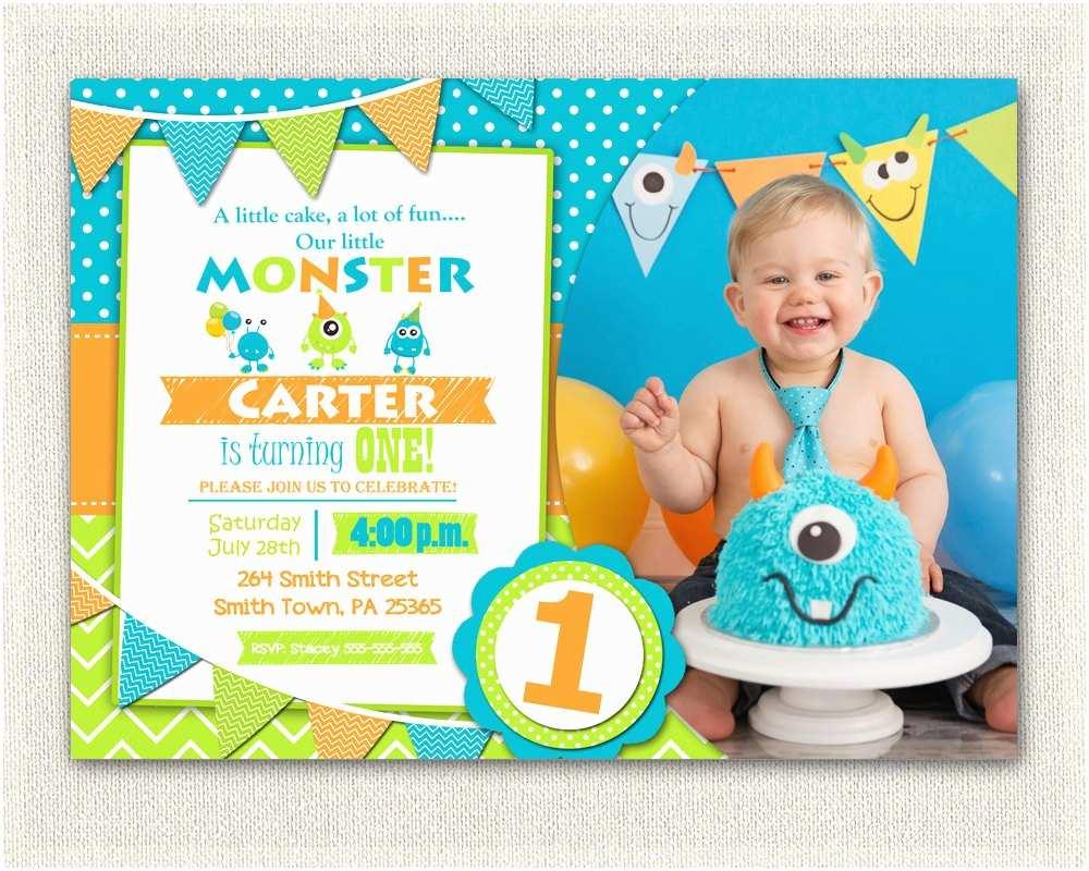 First Birthday Invitations First Birthday Invitation Boys Monster 1st Birthday Boys