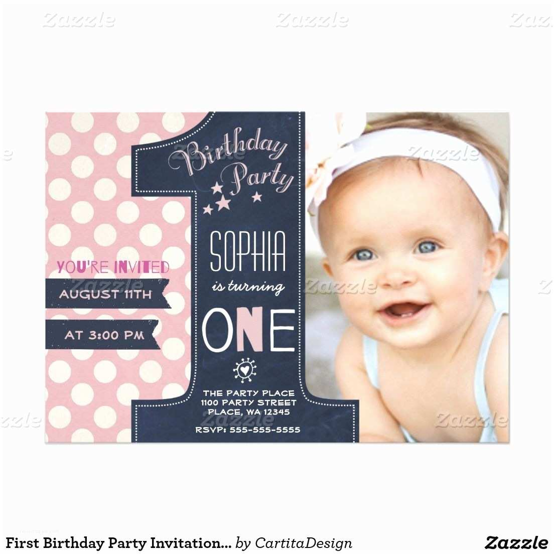 First Birthday Invitations First Birthday Party Invitation Girl Chalkboard