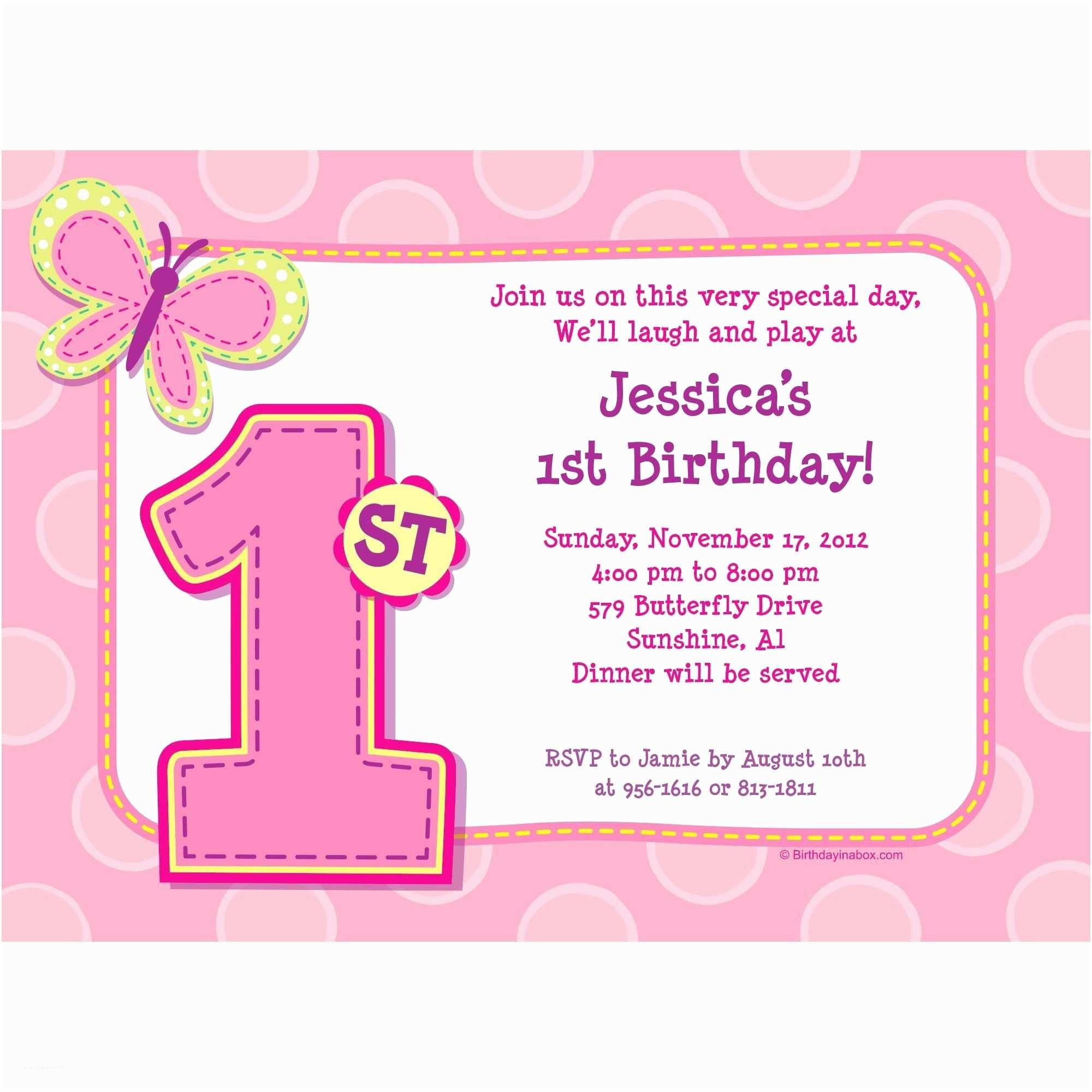 First Birthday Invitations Girl 1st Birthday Girl Personalized Invitation Each Bargain