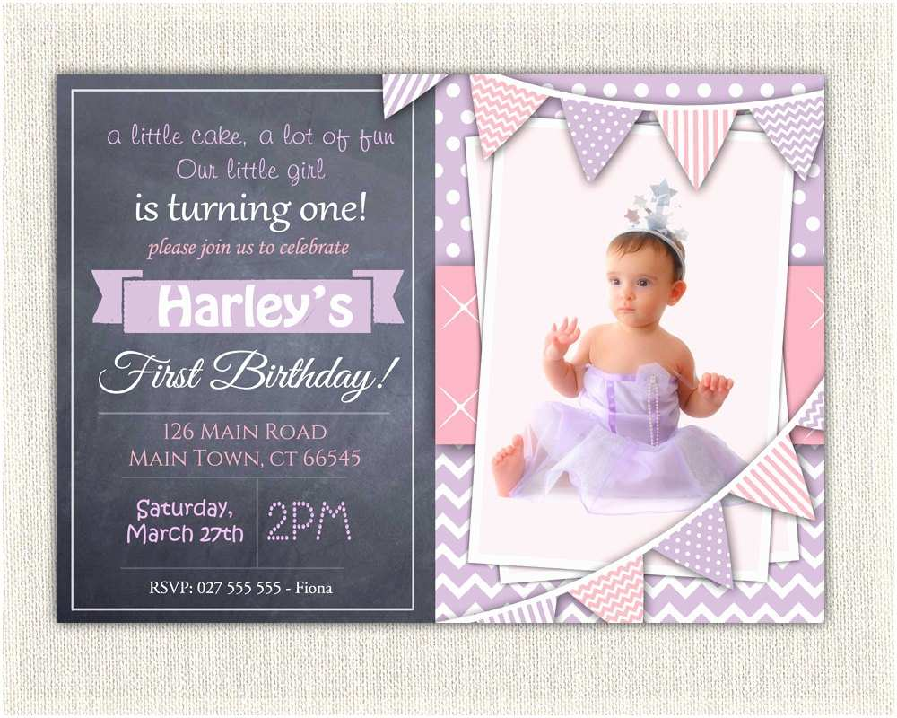 First Birthday Invitations Girl 1st Birthday Invitation Purple and Pink Girls Chalkboard