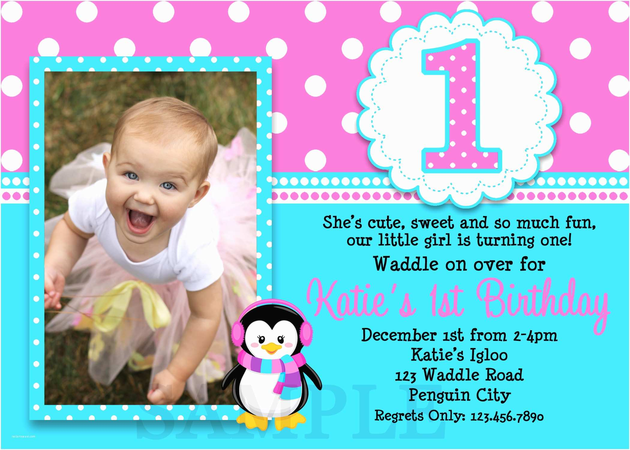 First Birthday Invitations Girl Printable Birthday Invitations Girls Penguin Party