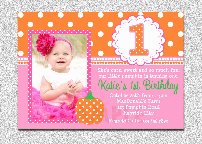 First Birthday Invitations Girl Pumpkin Birthday Invitation Pumpkin 1st Birthday Party