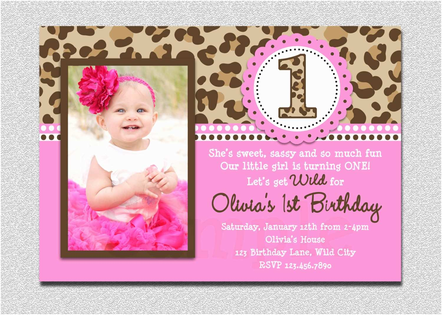 First Birthday Invitations Leopard Invitation 1st Party