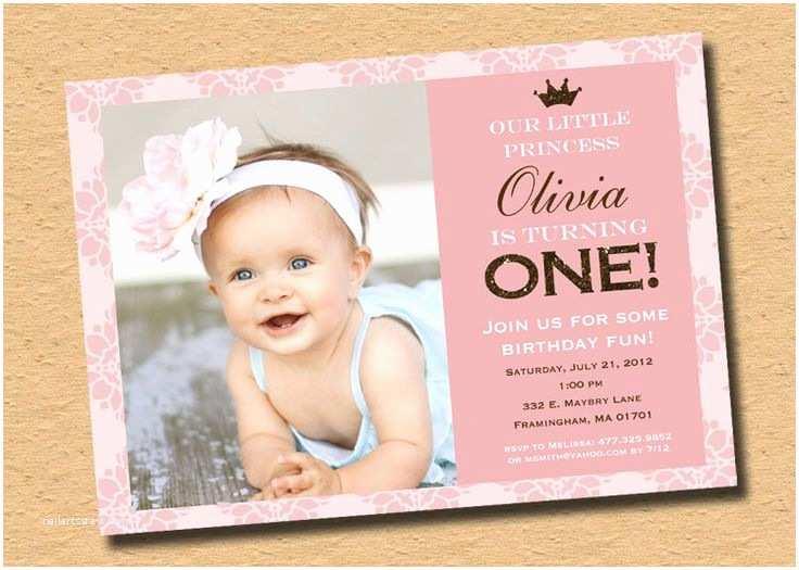 First Birthday Invitations Little Princess Pink Brown Sparkle First Birthday