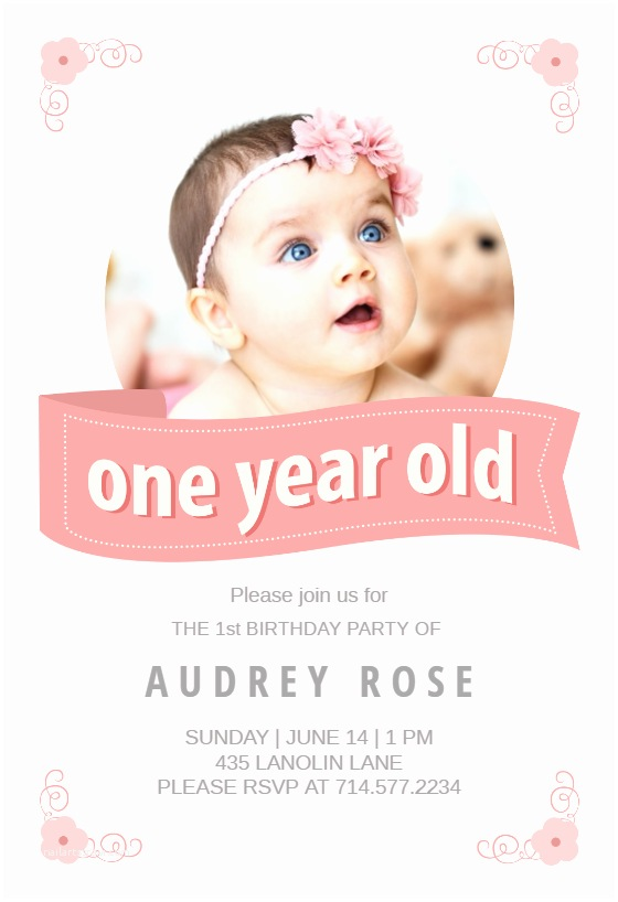 First Birthday Invitations Pink Ribbon Free Birthday Invitation Template