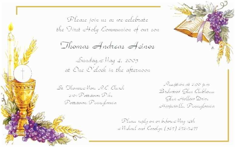 First Communion Invitation Templates Amazing Sample First Munion Invitation Cards White