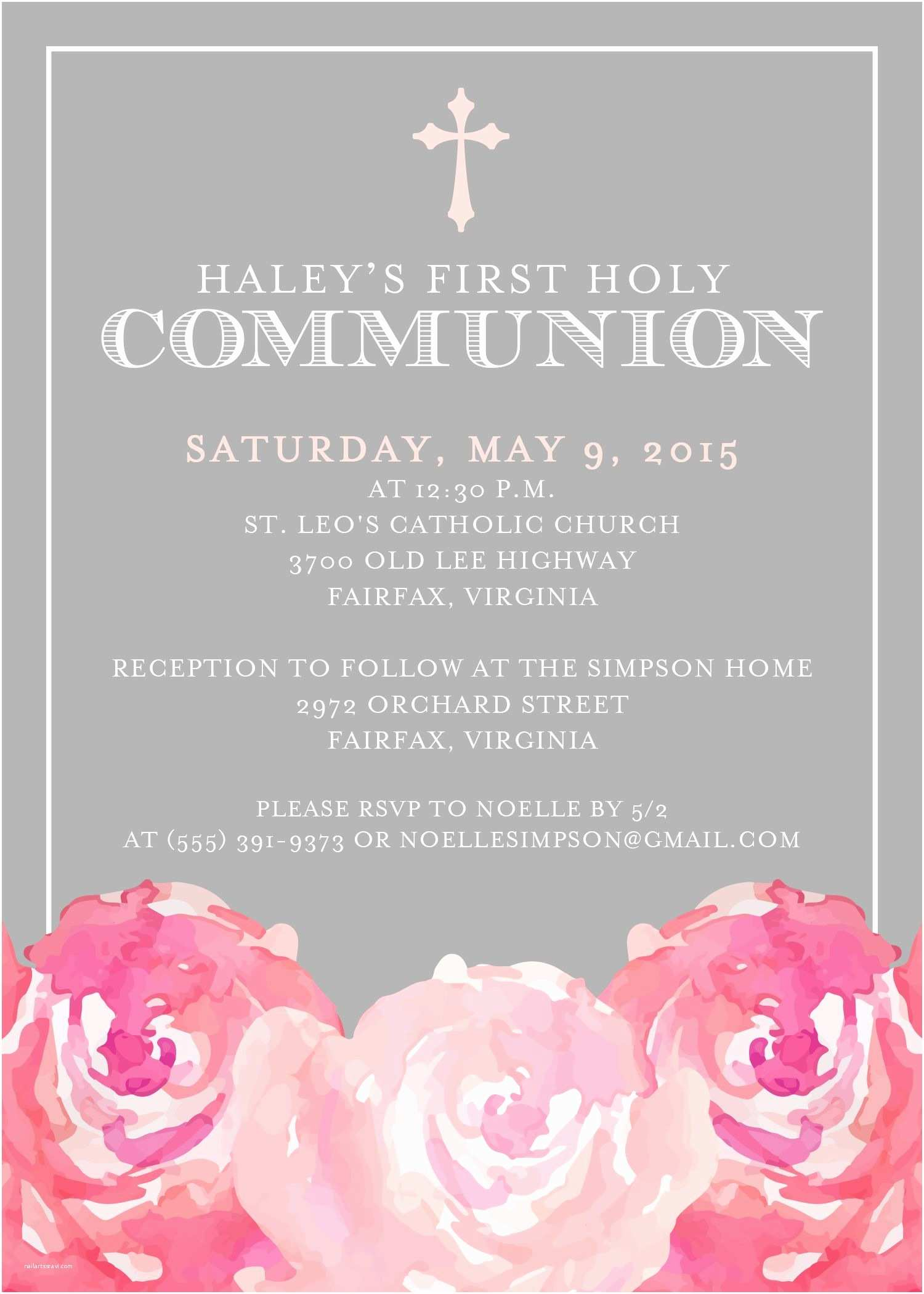 First Communion Invitation Templates First Munion Invitation From Replybyoccasions