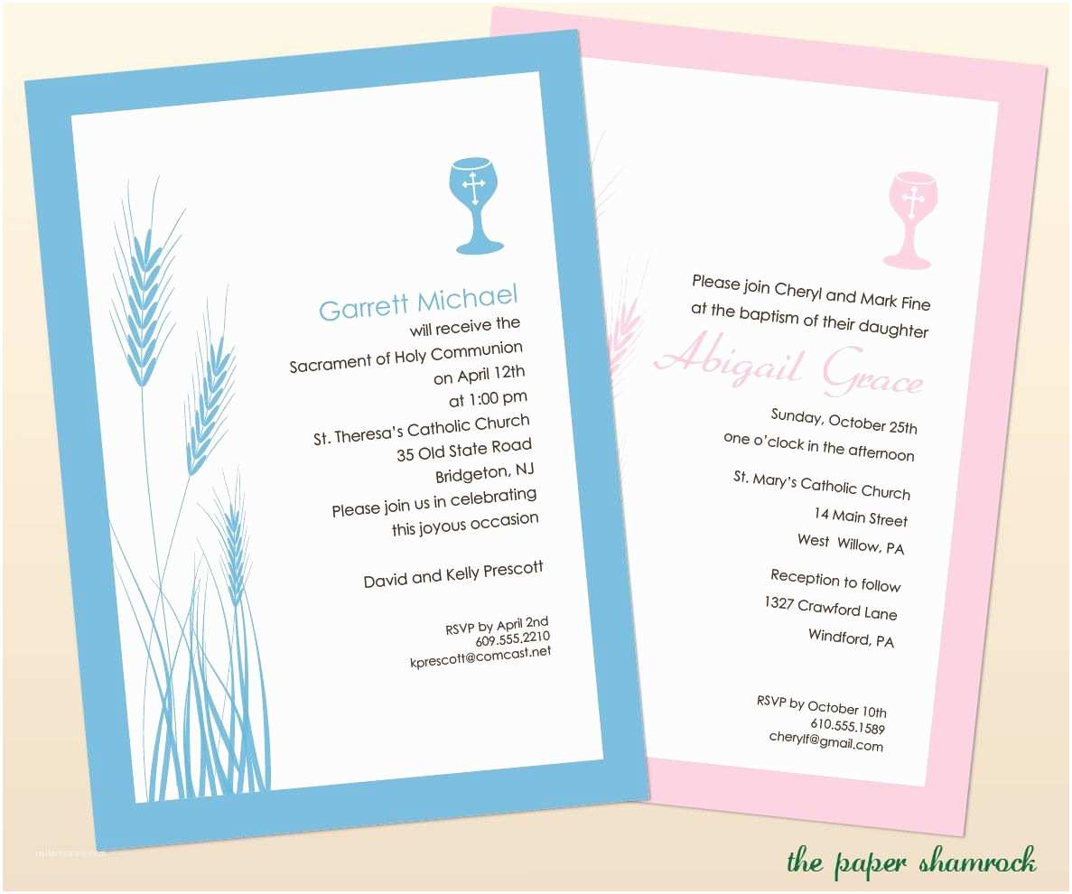 First Communion Invitation Templates Wheat and Chalice First Munion Invitations Munion