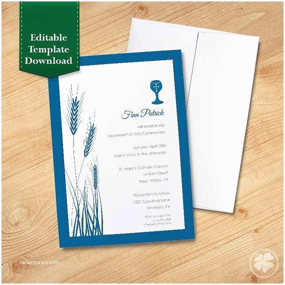 First Communion Invitation Templates Wheat and Chalice Religious Invitation Template Blue