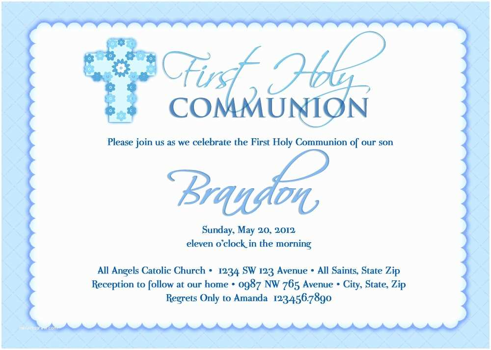 First Communion Invitation Wording First Holy Munion Invitations Wording