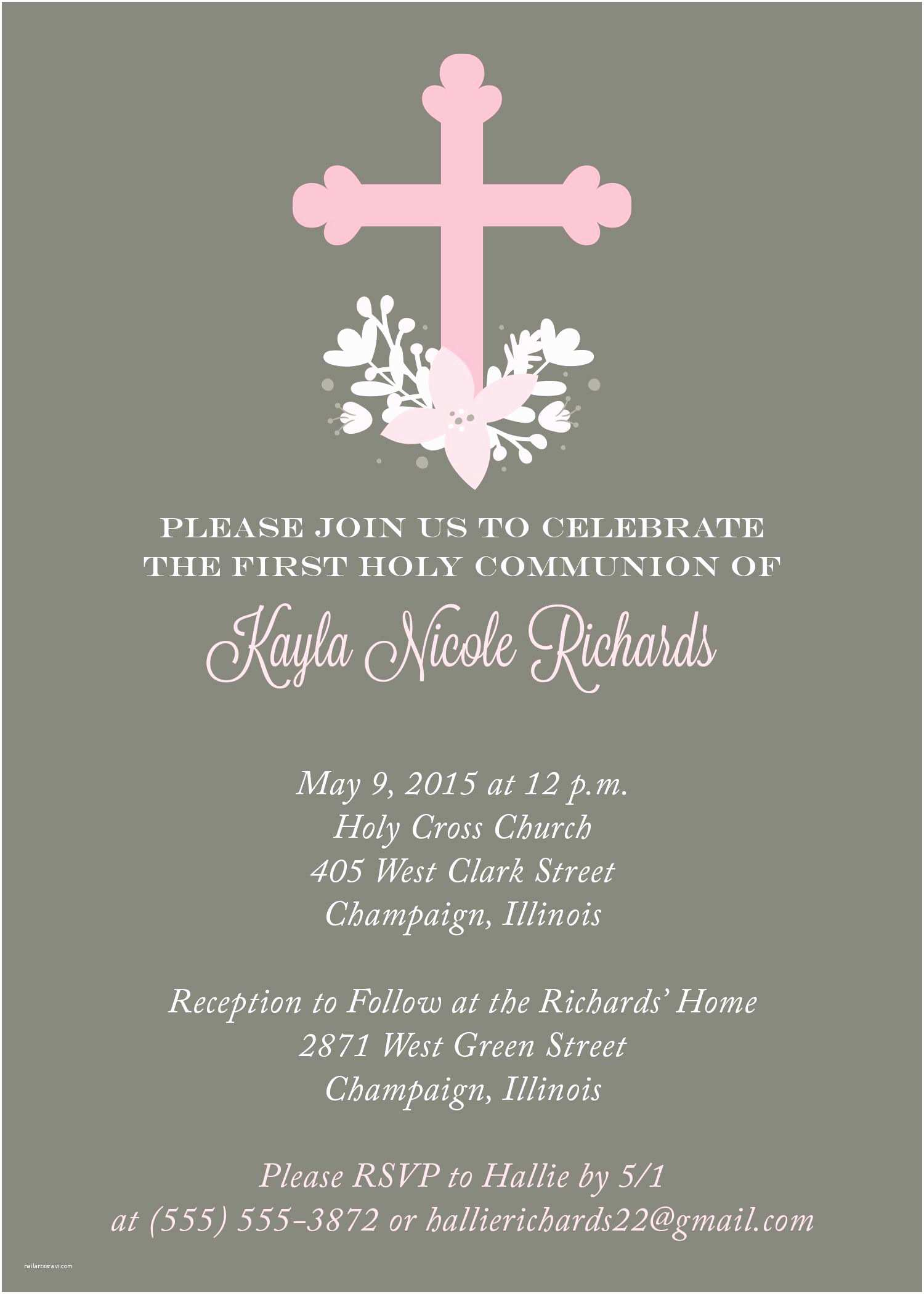 First Communion Invitation Wording First Munion Invitation From Replybyoccasions