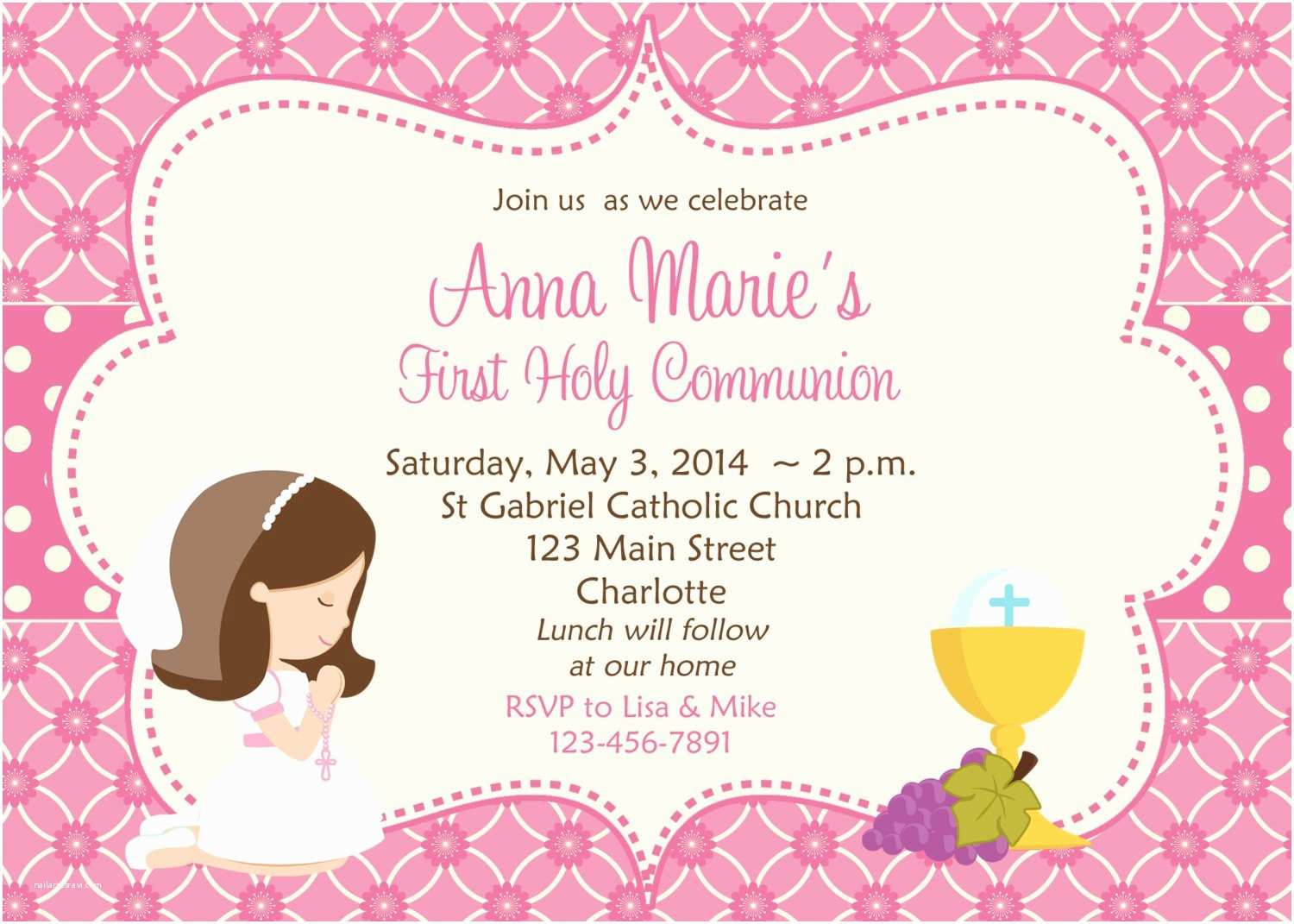First Communion Invitation Wording First Munion Invitation Holy Munion Invitation Holy