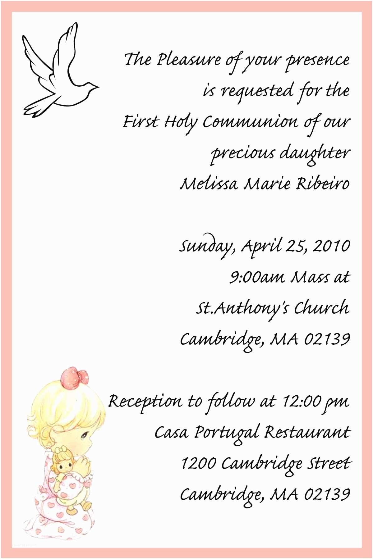 First Communion Invitation Wording 26 Best Images About Products I