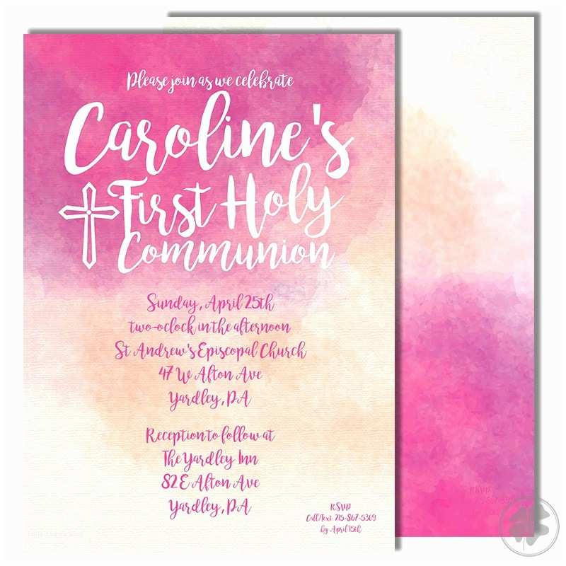 First Communion Invitation Wording Watercolor First Holy Munion Invitations