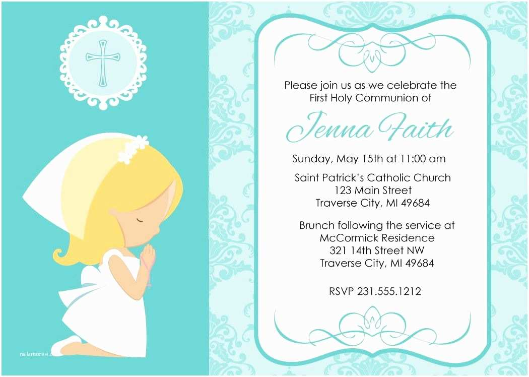 First Communion Invitations First Munion Cards for Girls