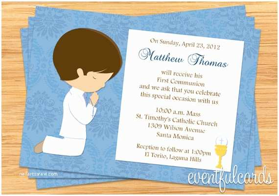 First Communion Invitations First Munion Invitation for Boy Brown Hair by