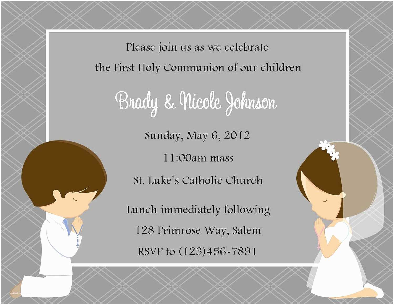 First Communion Invitations First Munion Invitation Twins Digital File