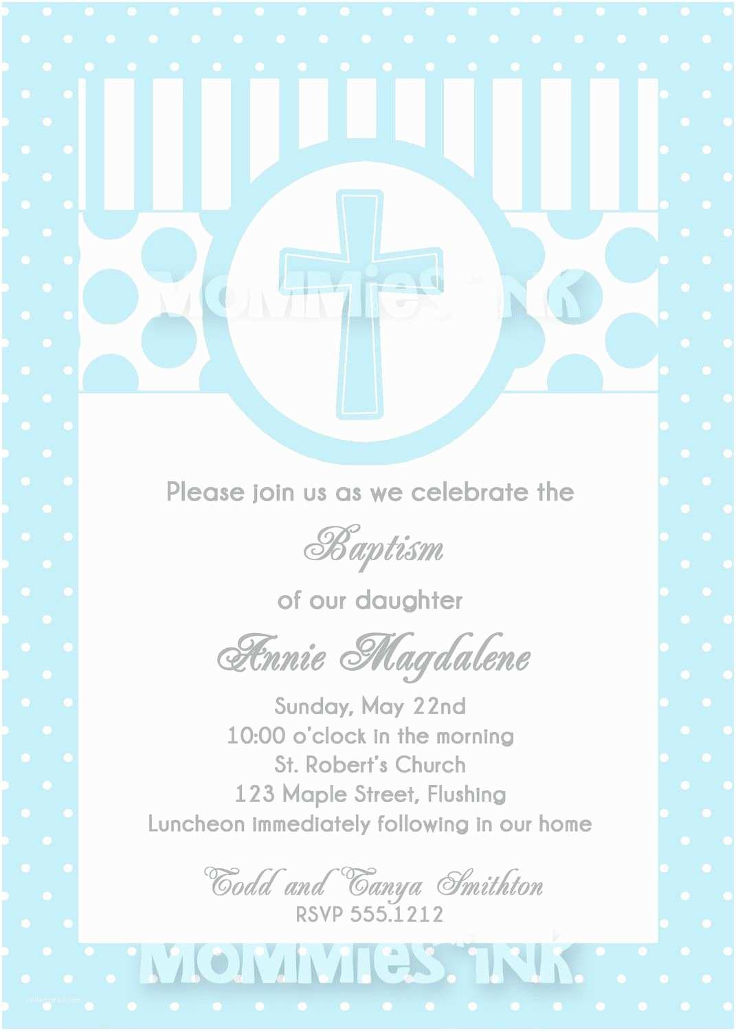 First Communion Invitations for Boys Blue First Munion or Baptism Invitation Boy