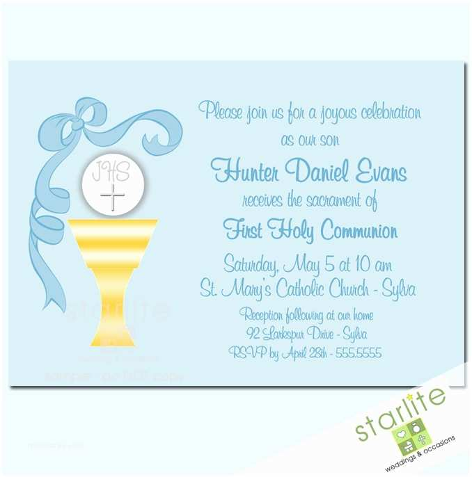 First Communion Invitations for Boys First Munion Invitations Boy Sacred Chalice Blue by