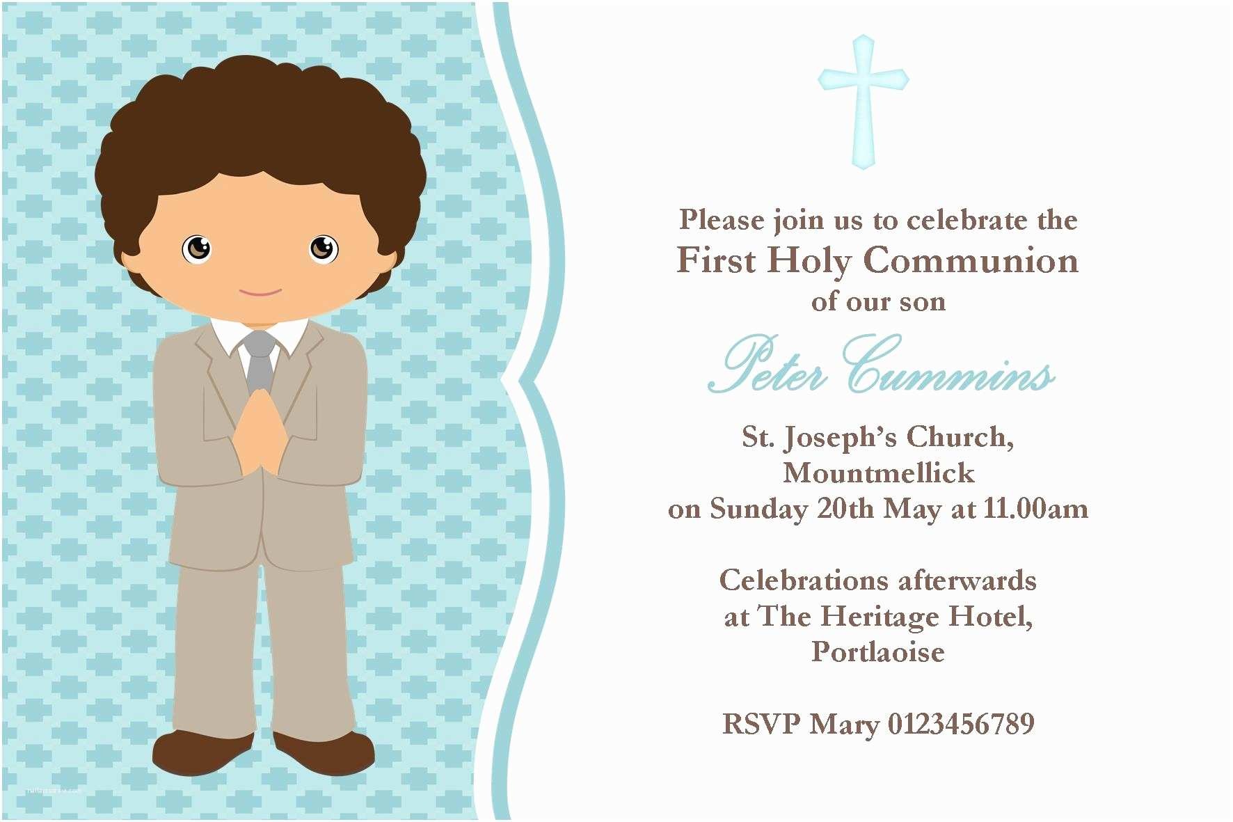 First Communion Invitations for Boys Personalised First Munion Invitations Boy New Design 3