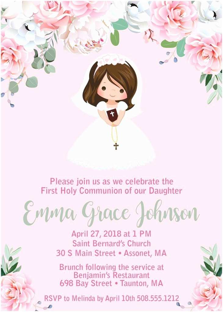 First Communion Invitations for Girls 285 Best First Holy Munion Images On Pinterest