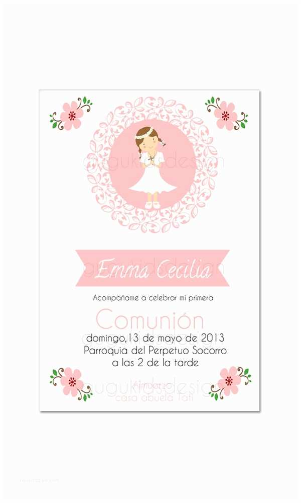 First Communion Invitations for Girls Diy Printable Girl First Munion Invitation $12 00