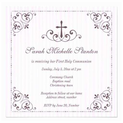 First Communion Invitations for Girls Elegant Girls First Munion Invitation