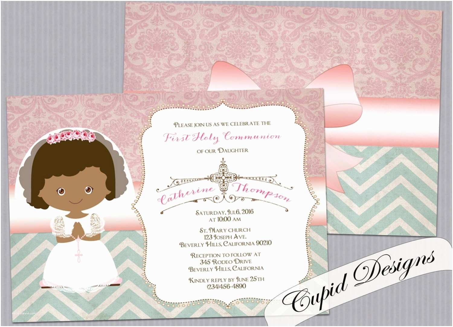 First Communion Invitations for Girls First Holy Munion Invitation Cards Girl First Munion