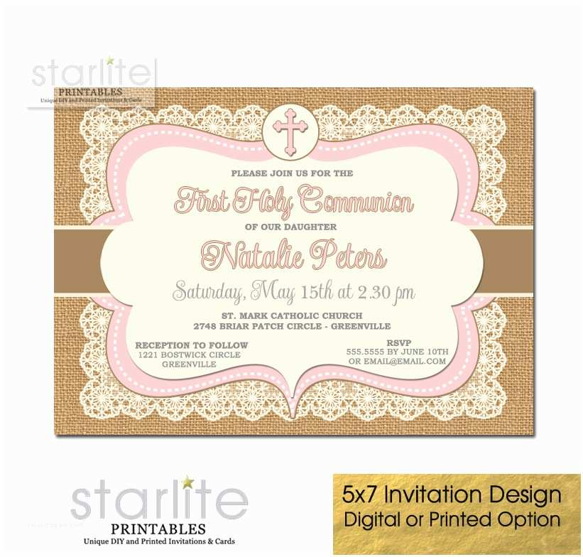 First Communion Invitations for Girls First Munion Invitation Girl Pink Brown Burlap Lace
