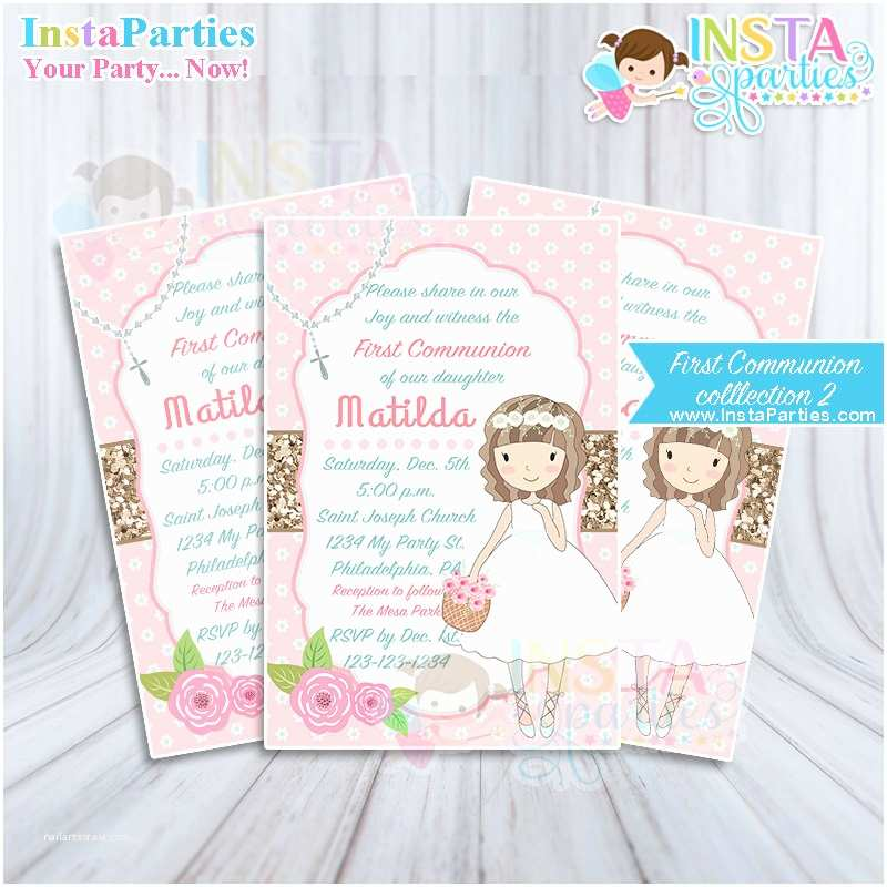 First Communion Invitations for Girls First Munion Invitations Girl Invitation Party Invites