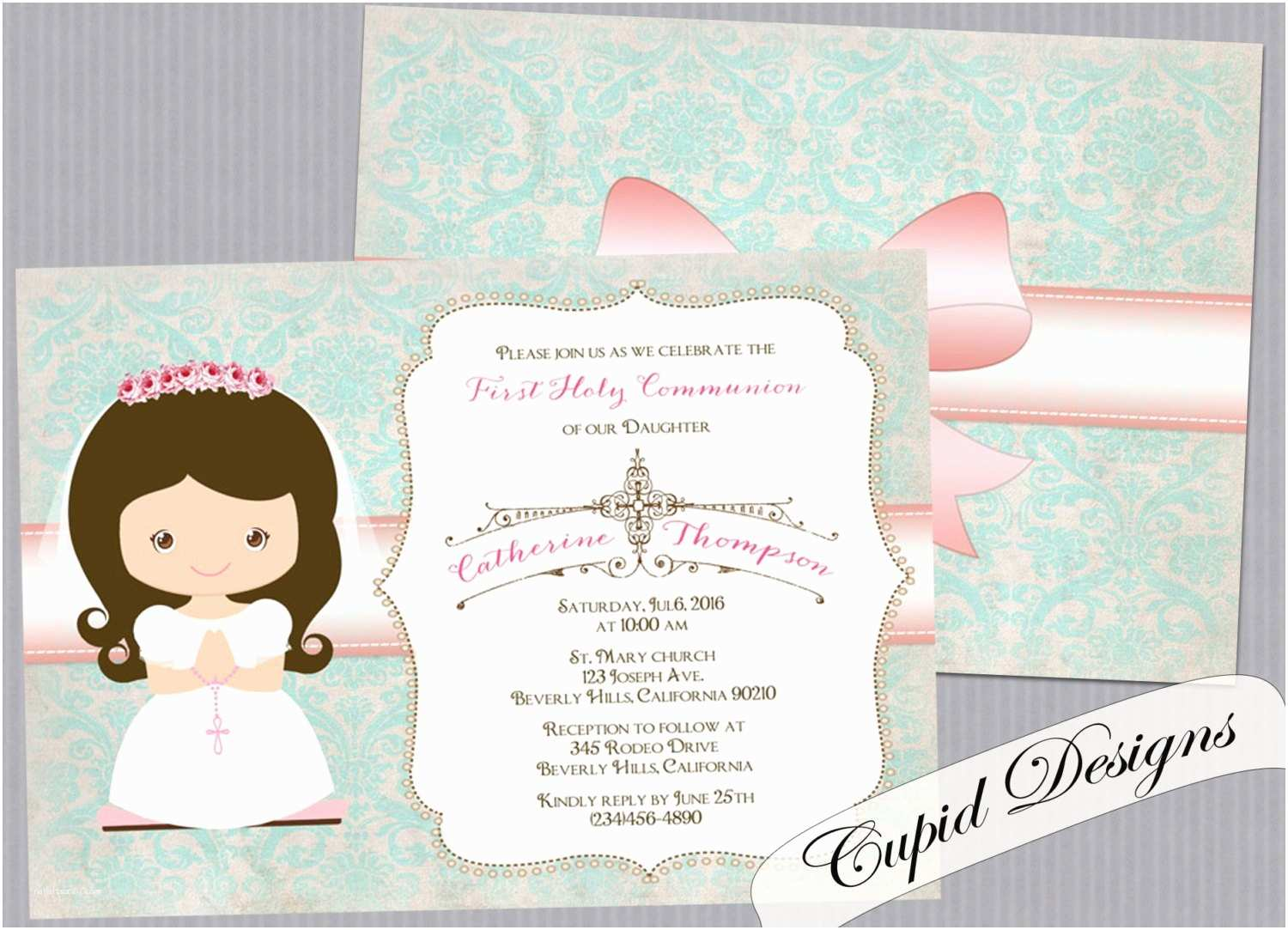 First Communion Invitations for Girls Girl First Munion Invitation Invitation for First Holy