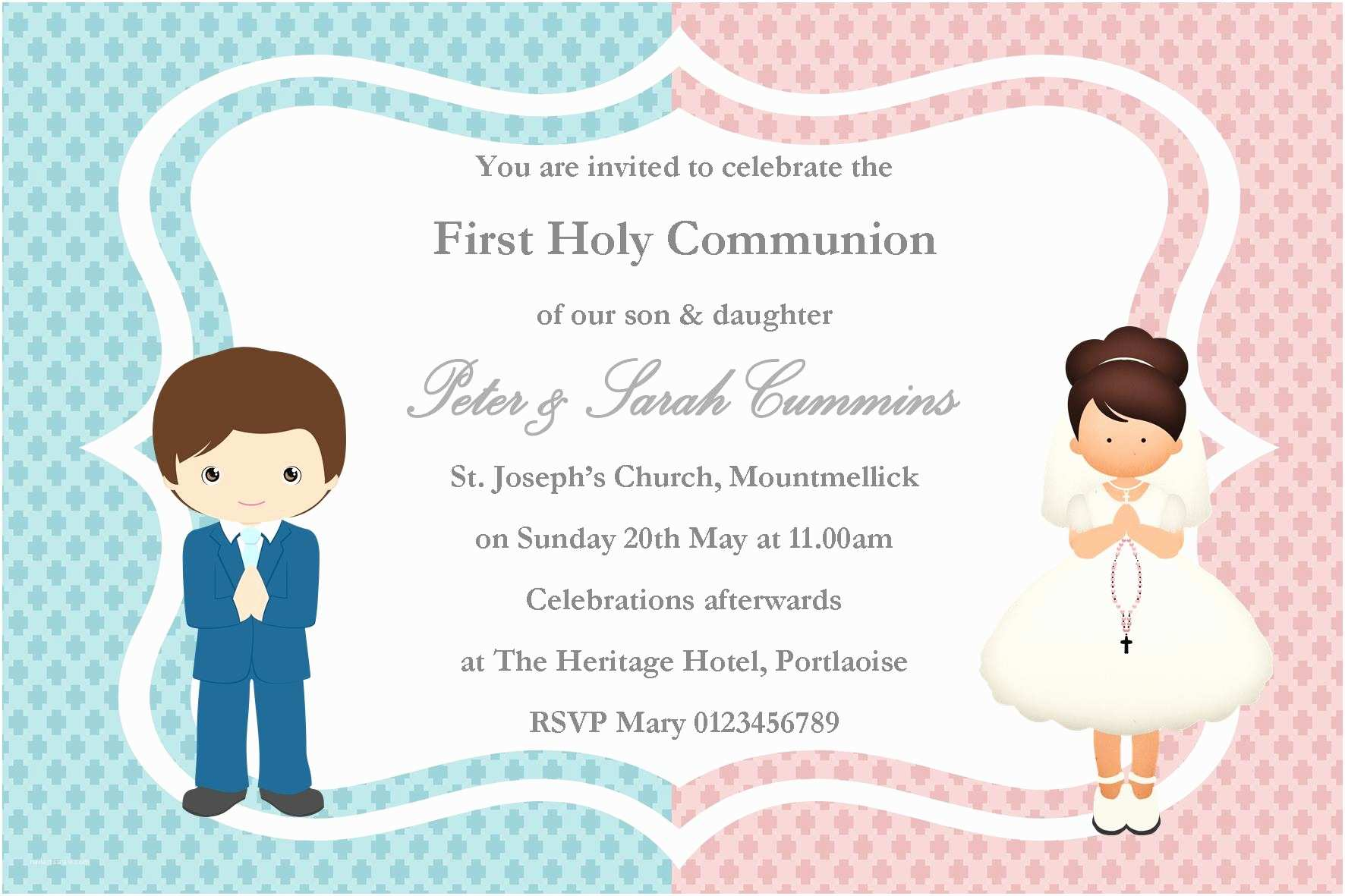 First Communion Invitations for Girls Personalised First Munion Invitations Girl Boy Twins