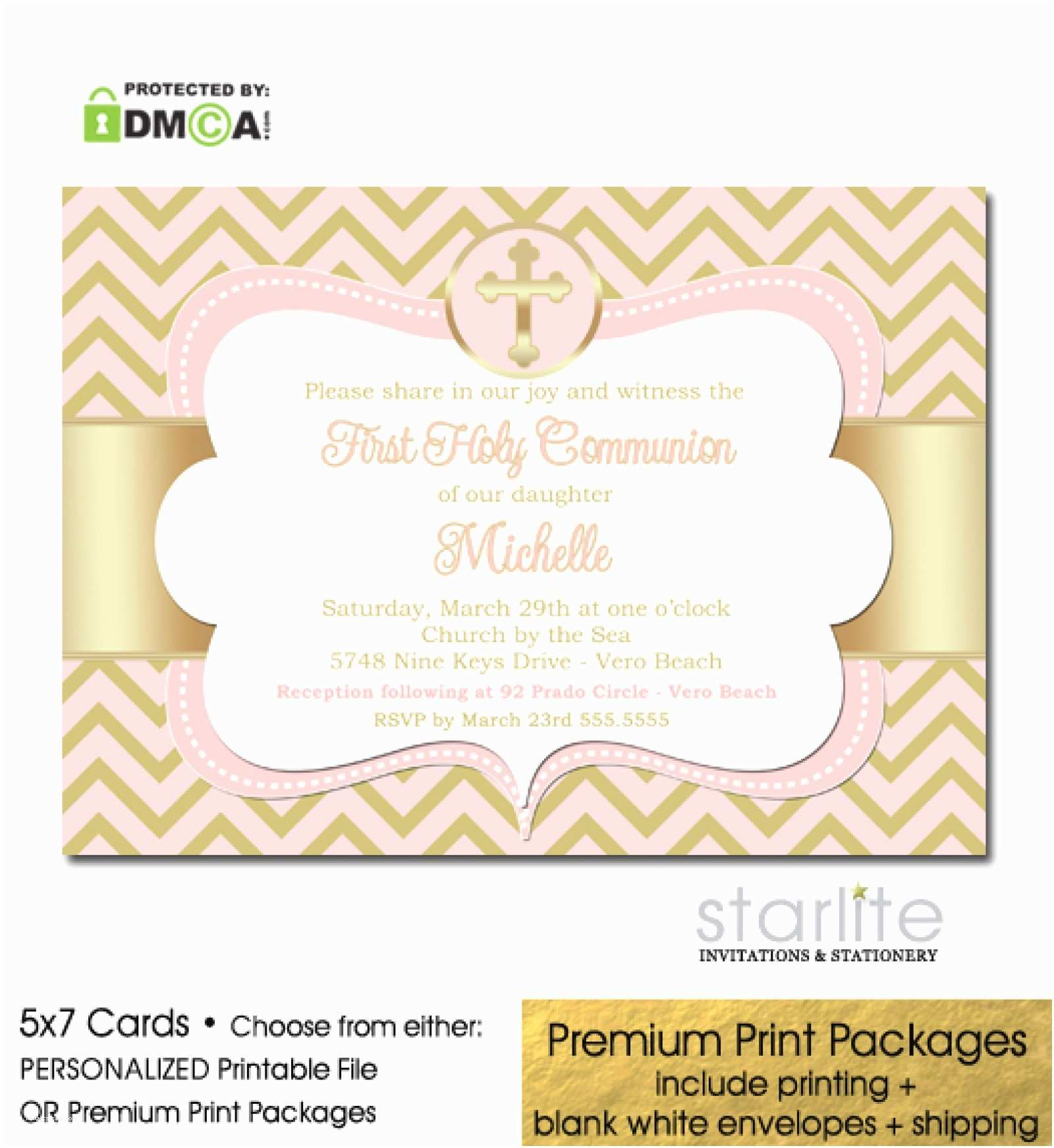 First Communion Invitations for Girls Pink and Gold Girl First Munion Invitation Chevron