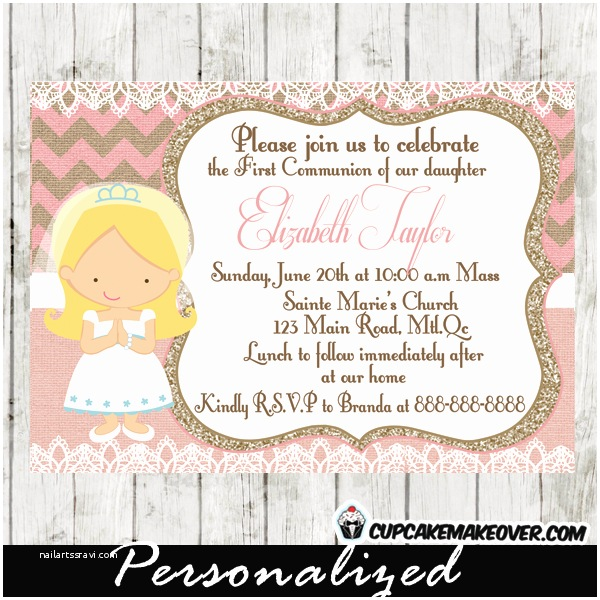 First Communion Invitations for Girls Pink Burlap & Lace First Munion Invitation for Girls D7