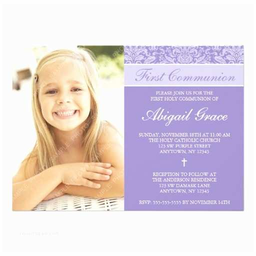 First Communion Invitations for Girls Purple Damask Girl First Munion 5x7 Paper