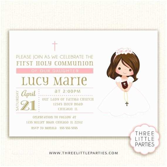 First Communion Invitations Girl First Munion Invitation Invitacion Primera Unión