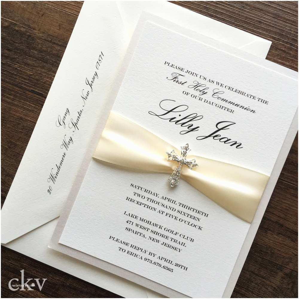 First Communion Invitations Ivory First Munion Invitation with Crystal Cross and