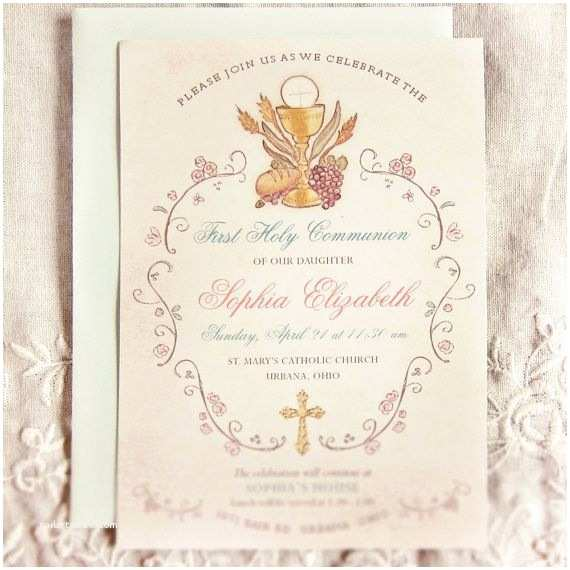 First Holy Communion Invitations Elegant First Munion Invitation Religious First Holy