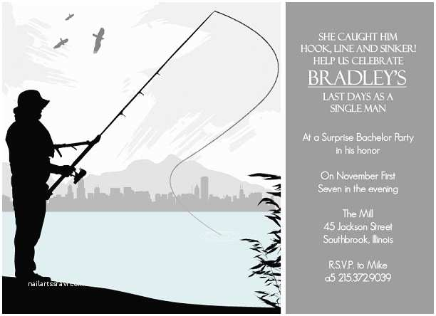 Fishing Birthday Party Invitations Bachelor Party Invites Outdoor themed